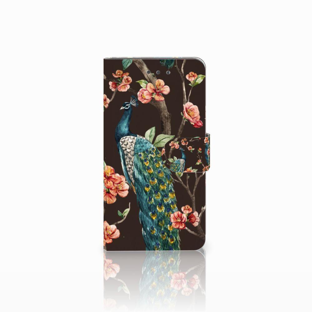 Wiko Fever (4G) Boekhoesje Design Pauw met Bloemen