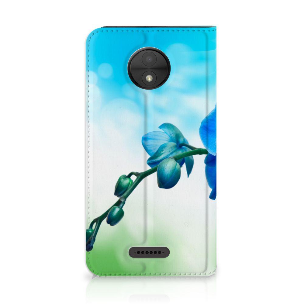 Motorola Moto C Standcase Hoesje Design Orchidee Blauw