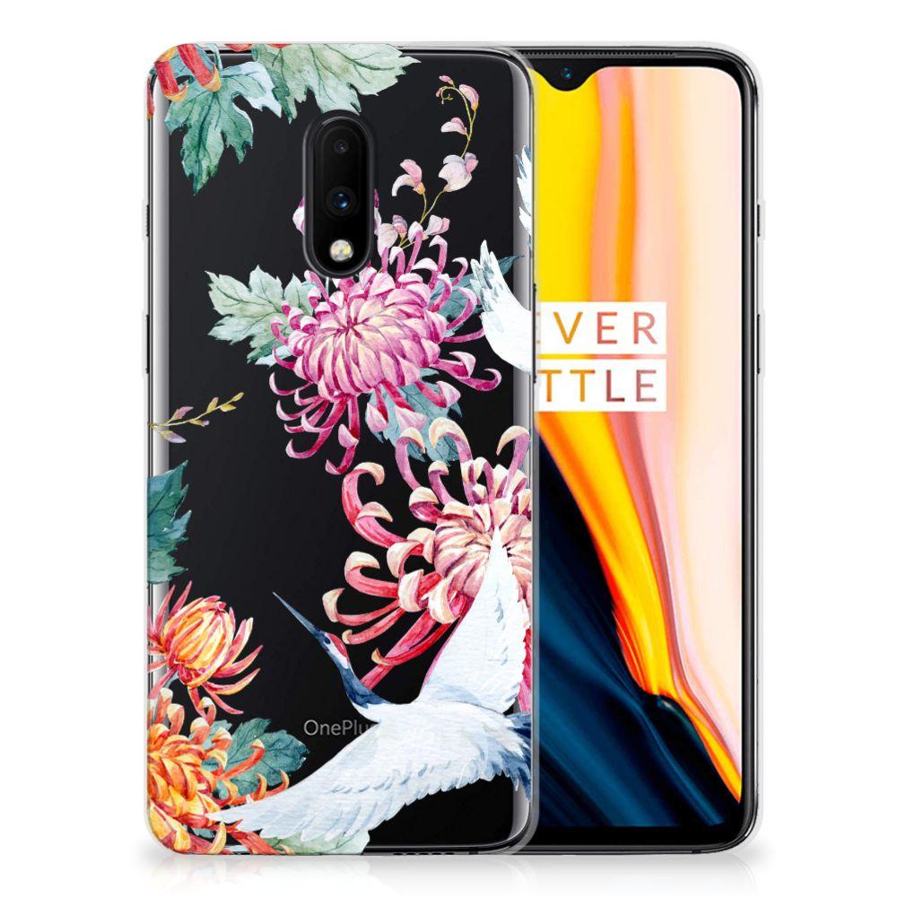 OnePlus 7 TPU Hoesje Bird Flowers