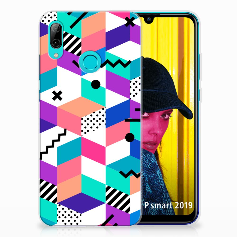 Huawei P Smart 2019 TPU Hoesje Blokken Kleurrijk