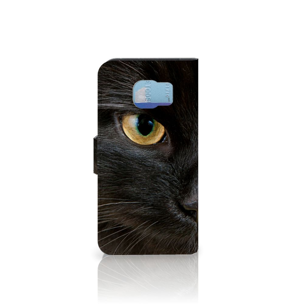 Samsung Galaxy S6 | S6 Duos Telefoonhoesje met Pasjes Zwarte Kat