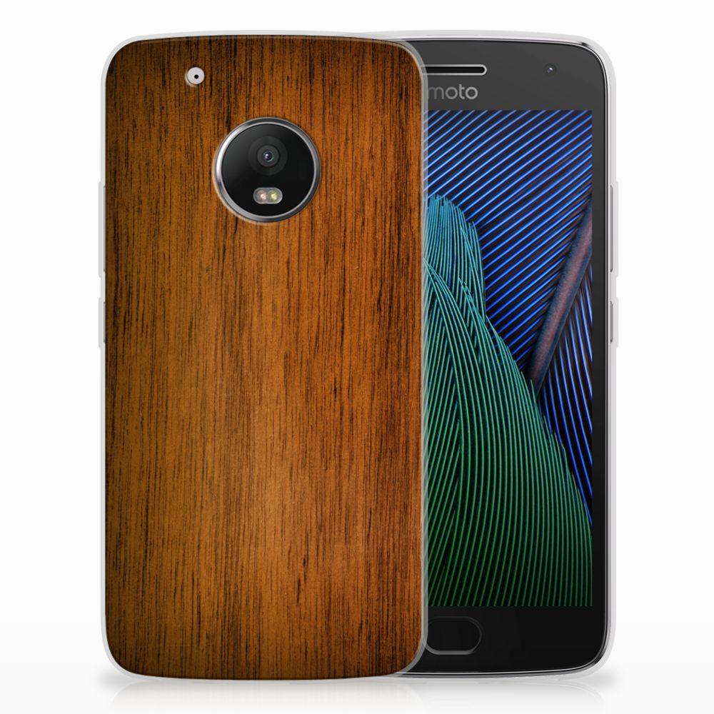 Motorola Moto G5 Plus Uniek TPU Hoesje Donker Hout
