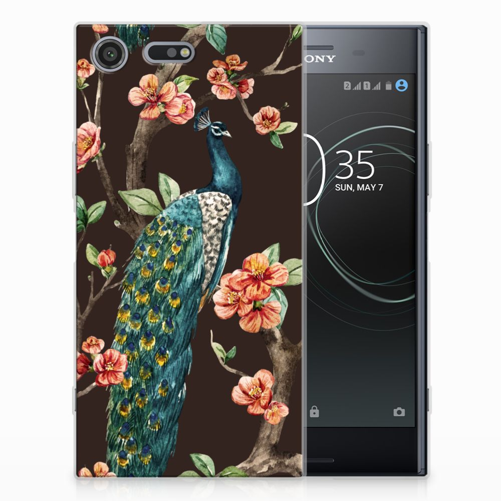 Sony Xperia XZ Premium TPU Hoesje Pauw met Bloemen