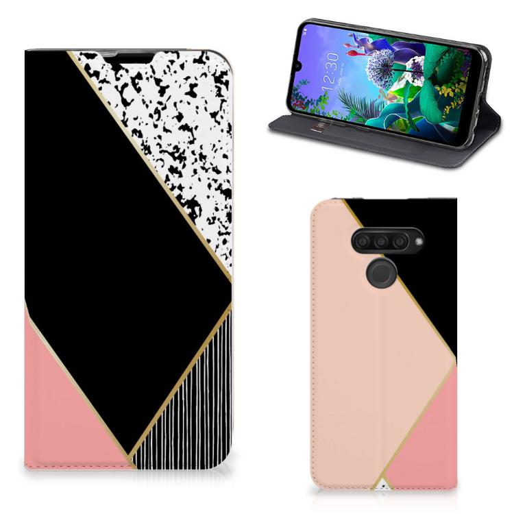 LG Q60 Stand Case Zwart Roze Vormen