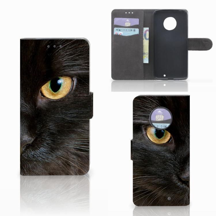 Motorola Moto X4 Telefoonhoesje met Pasjes Zwarte Kat