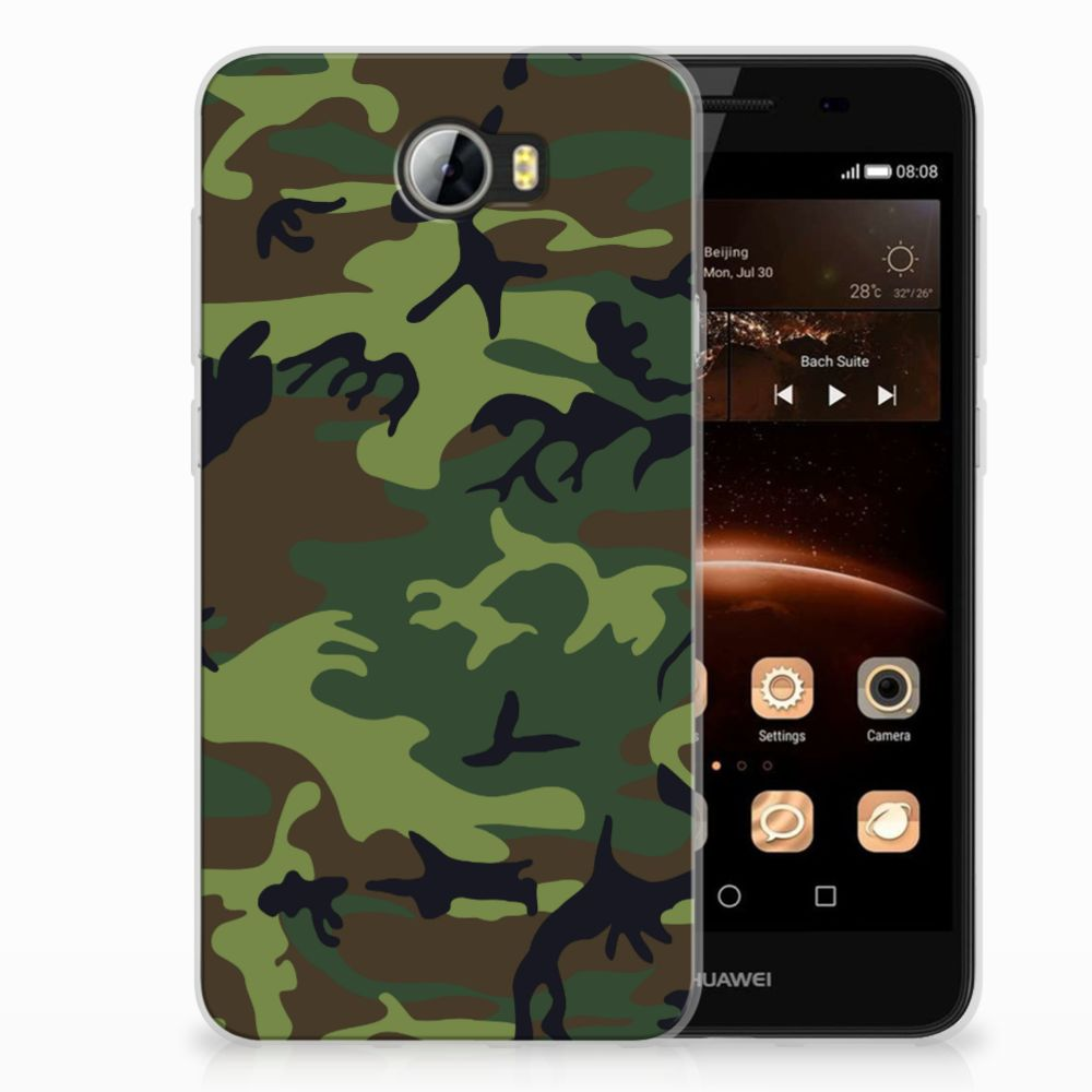 Huawai Y5 II   Y6 II Compact TPU Hoesje Design Army Dark