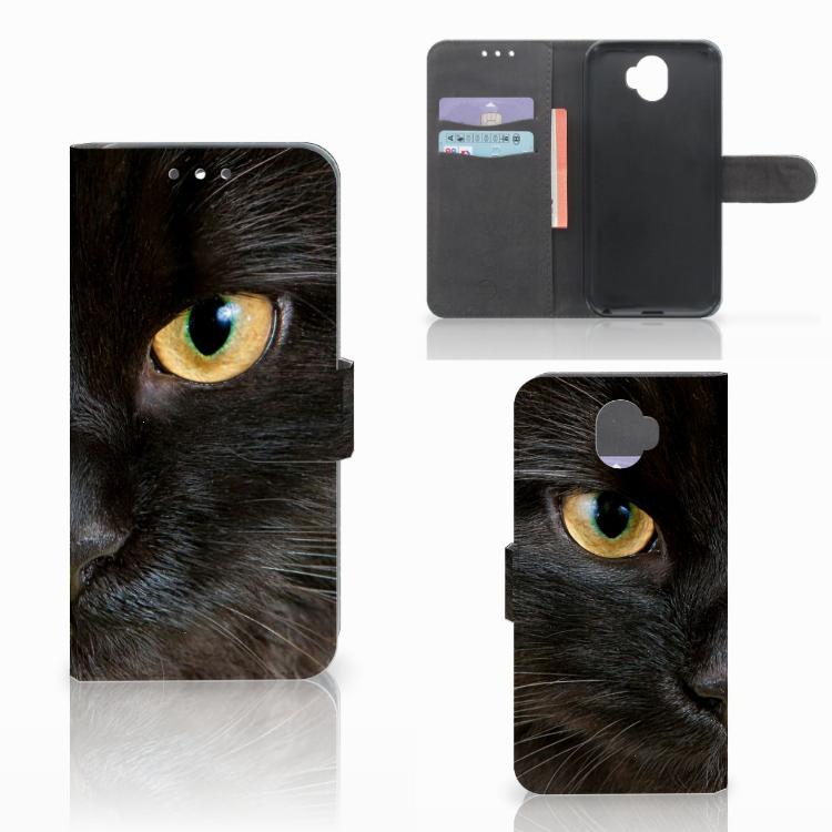 Wiko Wim Telefoonhoesje met Pasjes Zwarte Kat