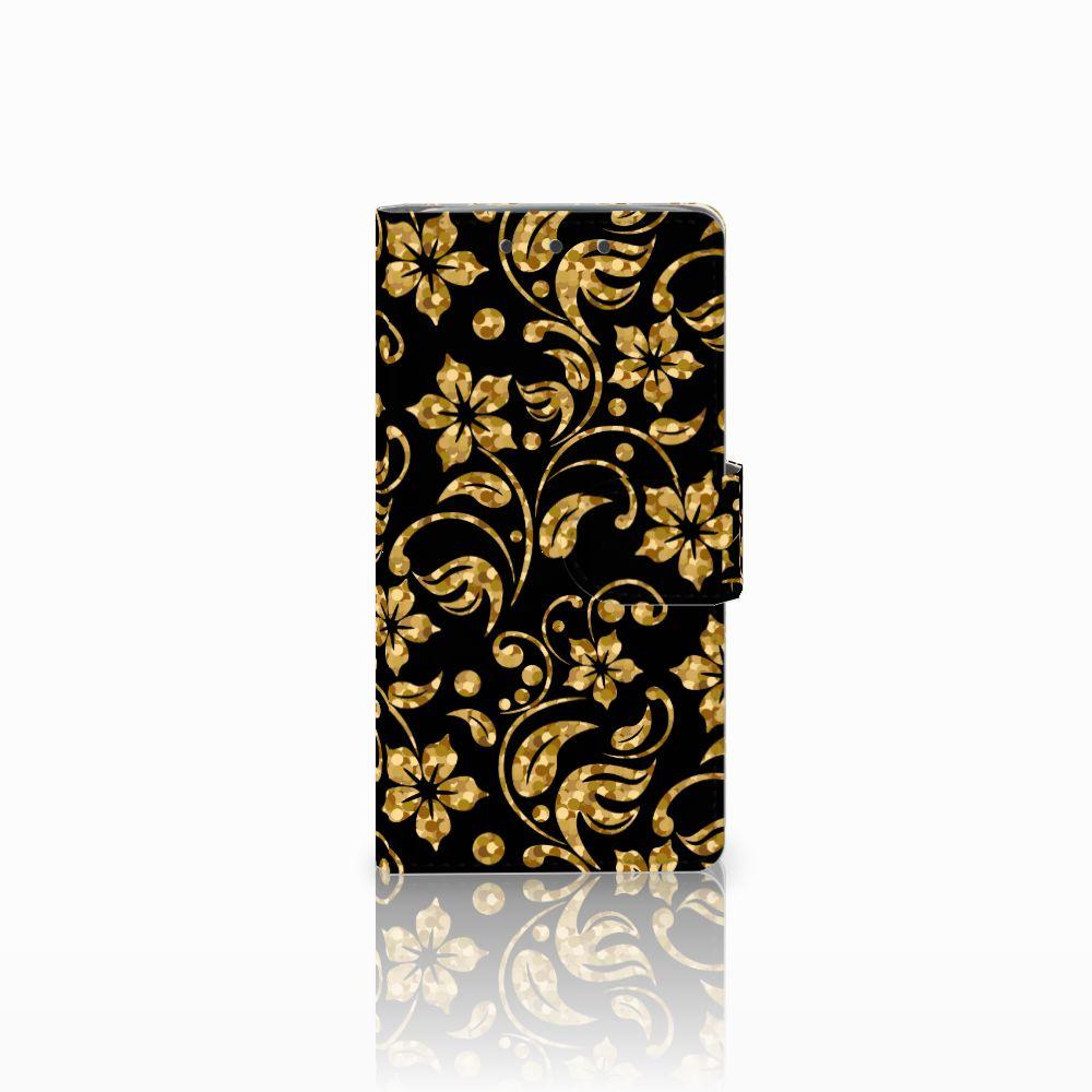 HTC One M7 Boekhoesje Design Gouden Bloemen