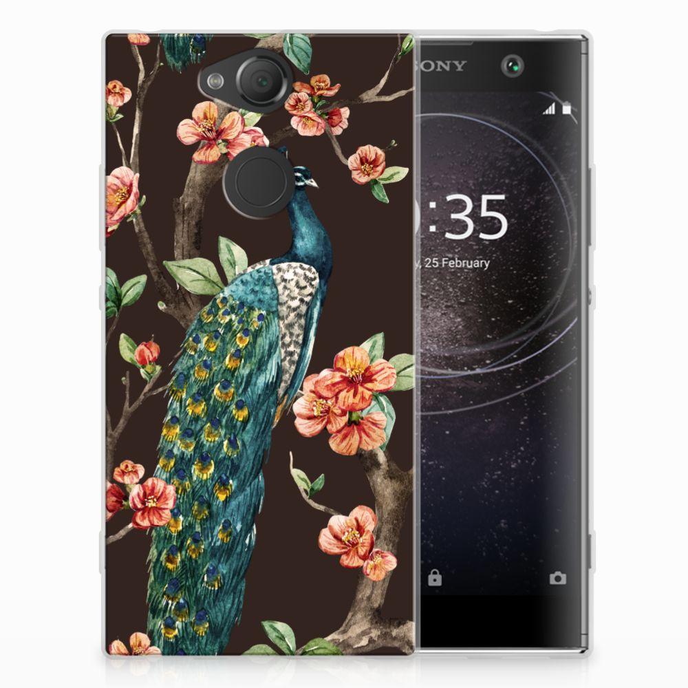 Sony Xperia XA2 TPU Hoesje Design Pauw met Bloemen