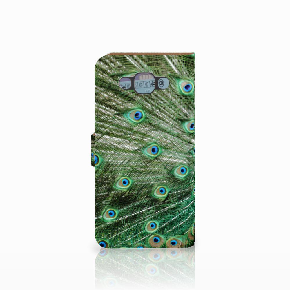 Samsung Galaxy E7 Telefoonhoesje met Pasjes Pauw