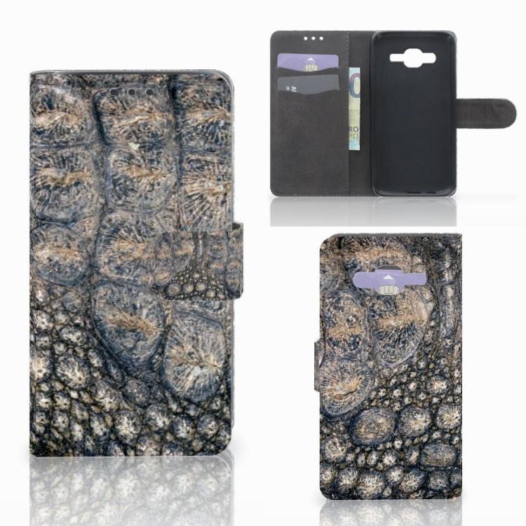 Samsung Galaxy J5 (2015) Telefoonhoesje met Pasjes Krokodillenprint