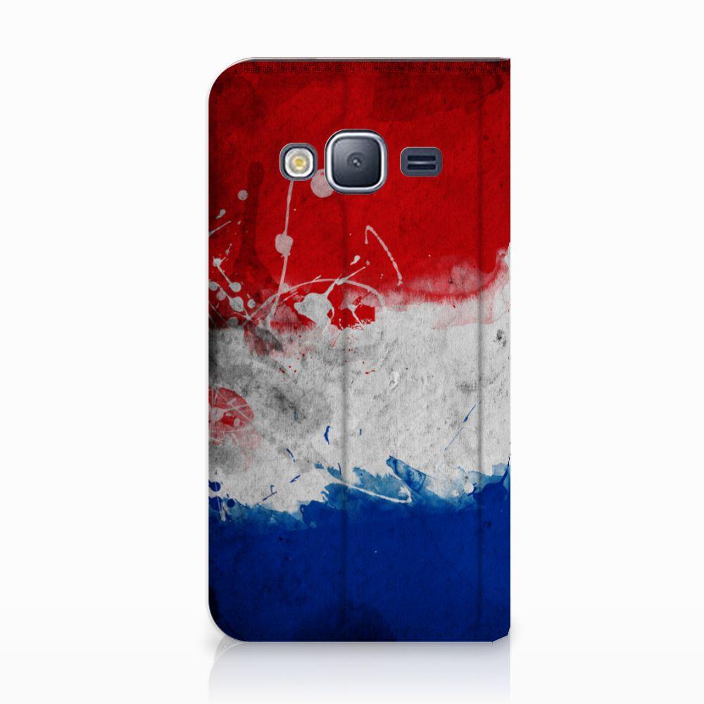 Samsung Galaxy J3 2016 Uniek Standcase Hoesje Nederlandse Vlag