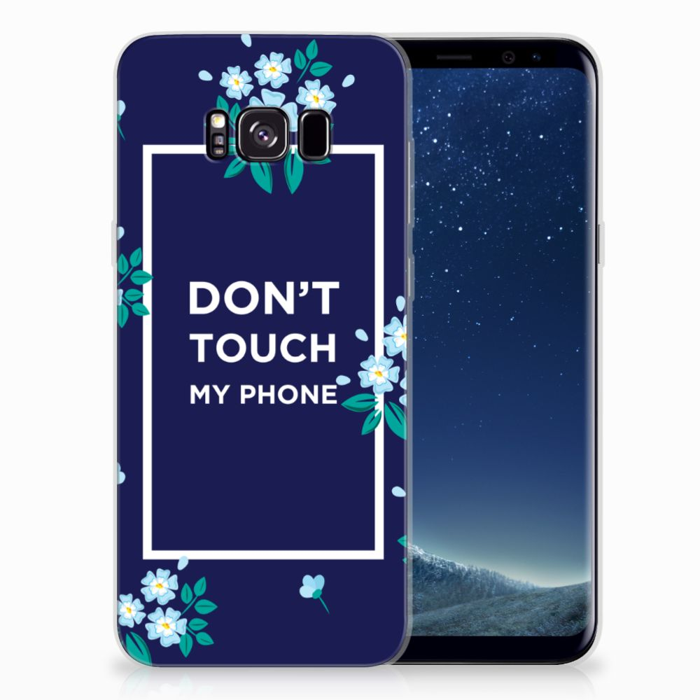 Samsung Galaxy S8 Plus Silicone-hoesje Flowers Blue DTMP
