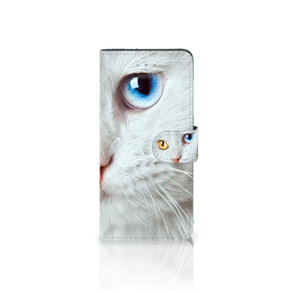Apple iPhone 6 Plus   6s Plus Uniek Boekhoesje Witte Kat