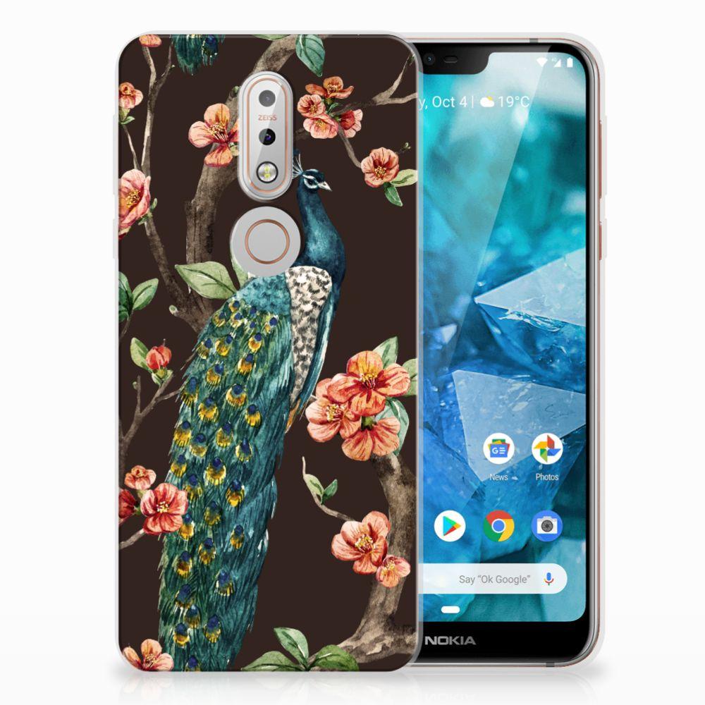 Nokia 7.1 TPU Hoesje Design Pauw met Bloemen
