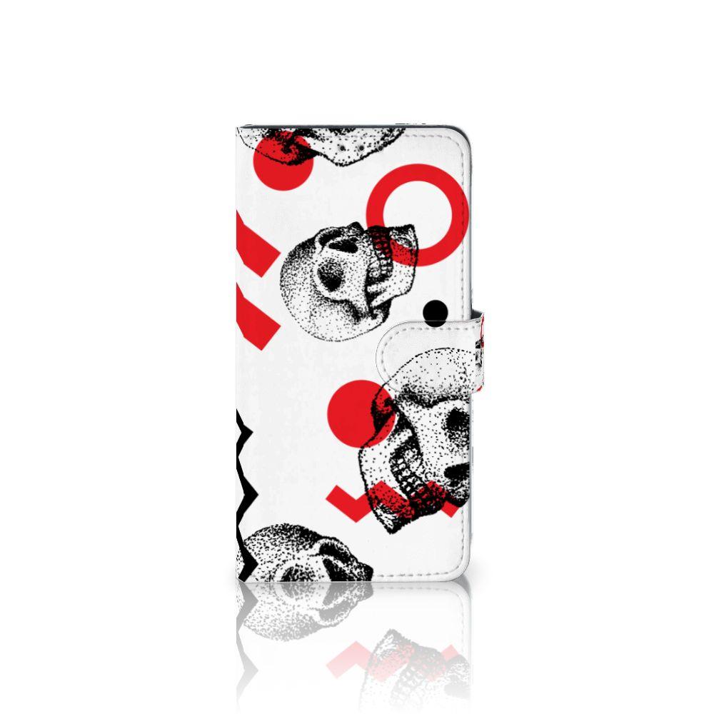 Samsung Galaxy A8 Plus (2018) Boekhoesje Design Skull Red