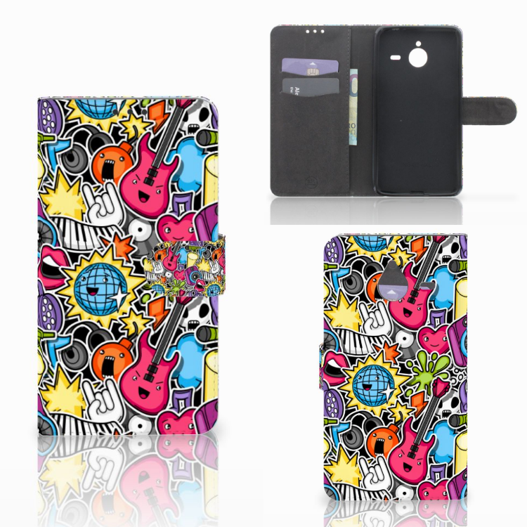 Microsoft Lumia 640 XL Wallet Case met Pasjes Punk Rock