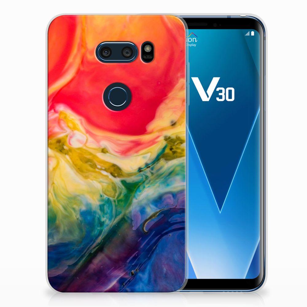 LG V30 Uniek TPU Hoesje Watercolor Dark
