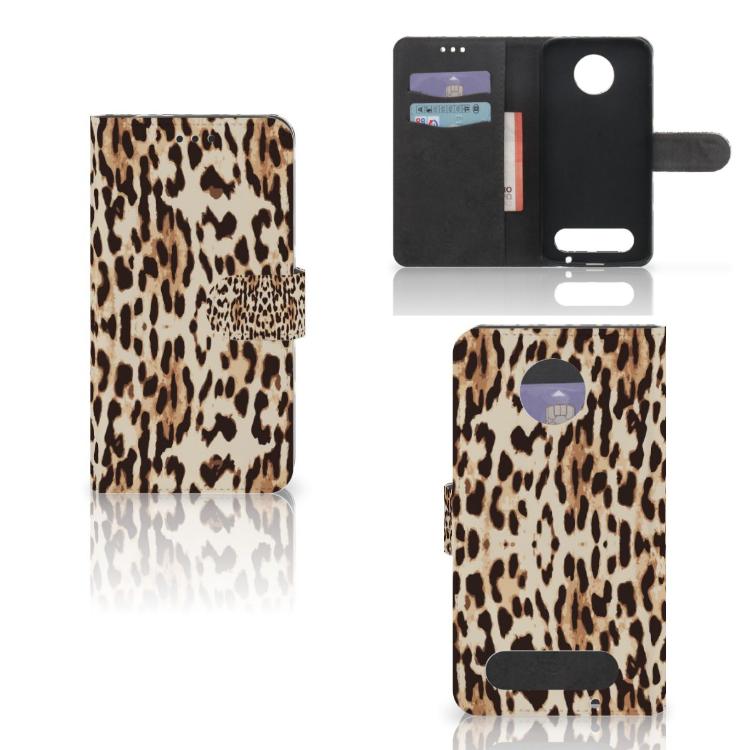 Motorola Moto Z2 Force Telefoonhoesje met Pasjes Leopard