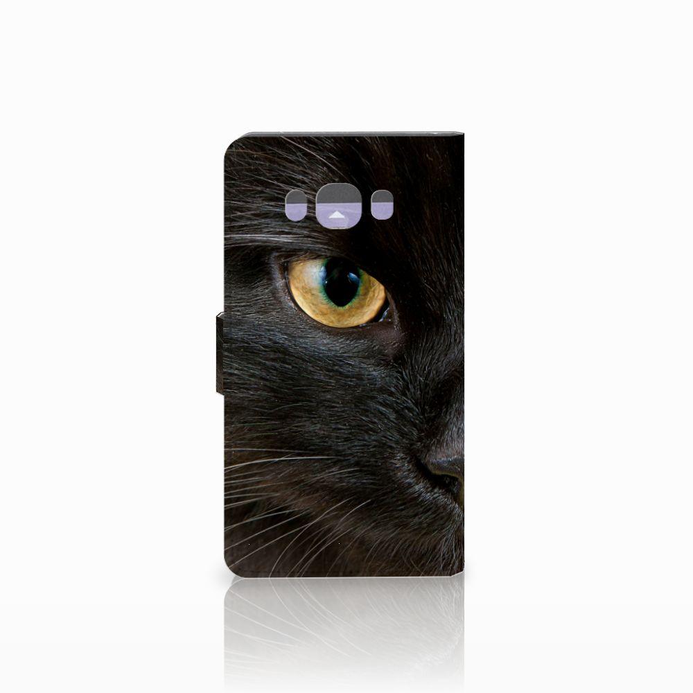 Samsung Galaxy J7 2016 Telefoonhoesje met Pasjes Zwarte Kat
