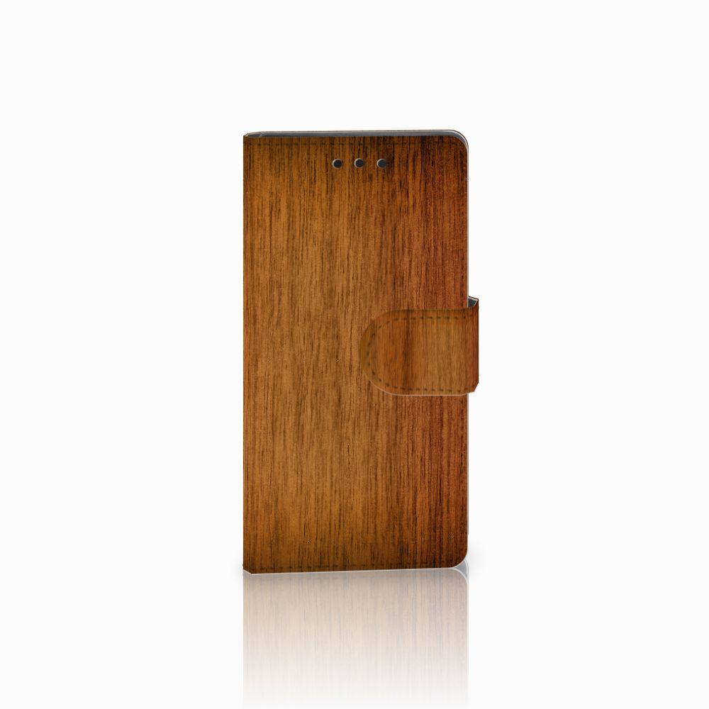 Sony Xperia Z5 Compact Uniek Boekhoesje Donker Hout