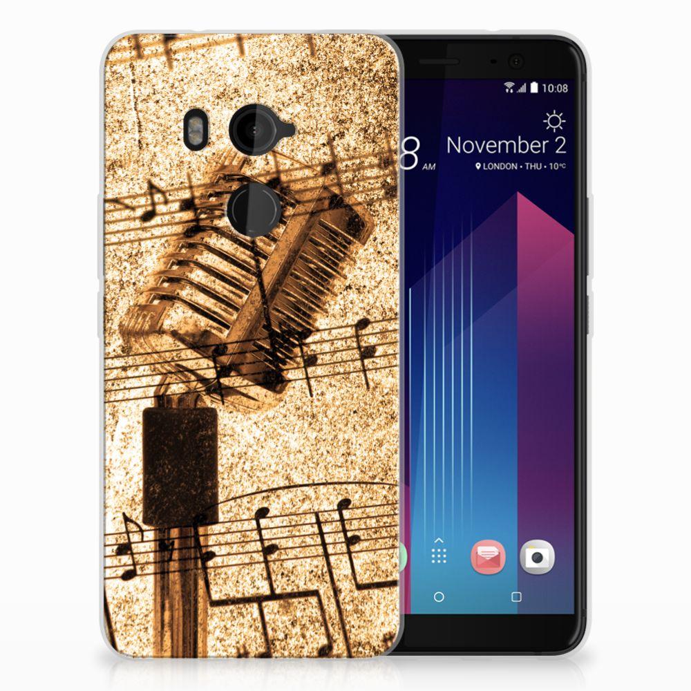 HTC U11 Plus Uniek TPU Hoesje Bladmuziek