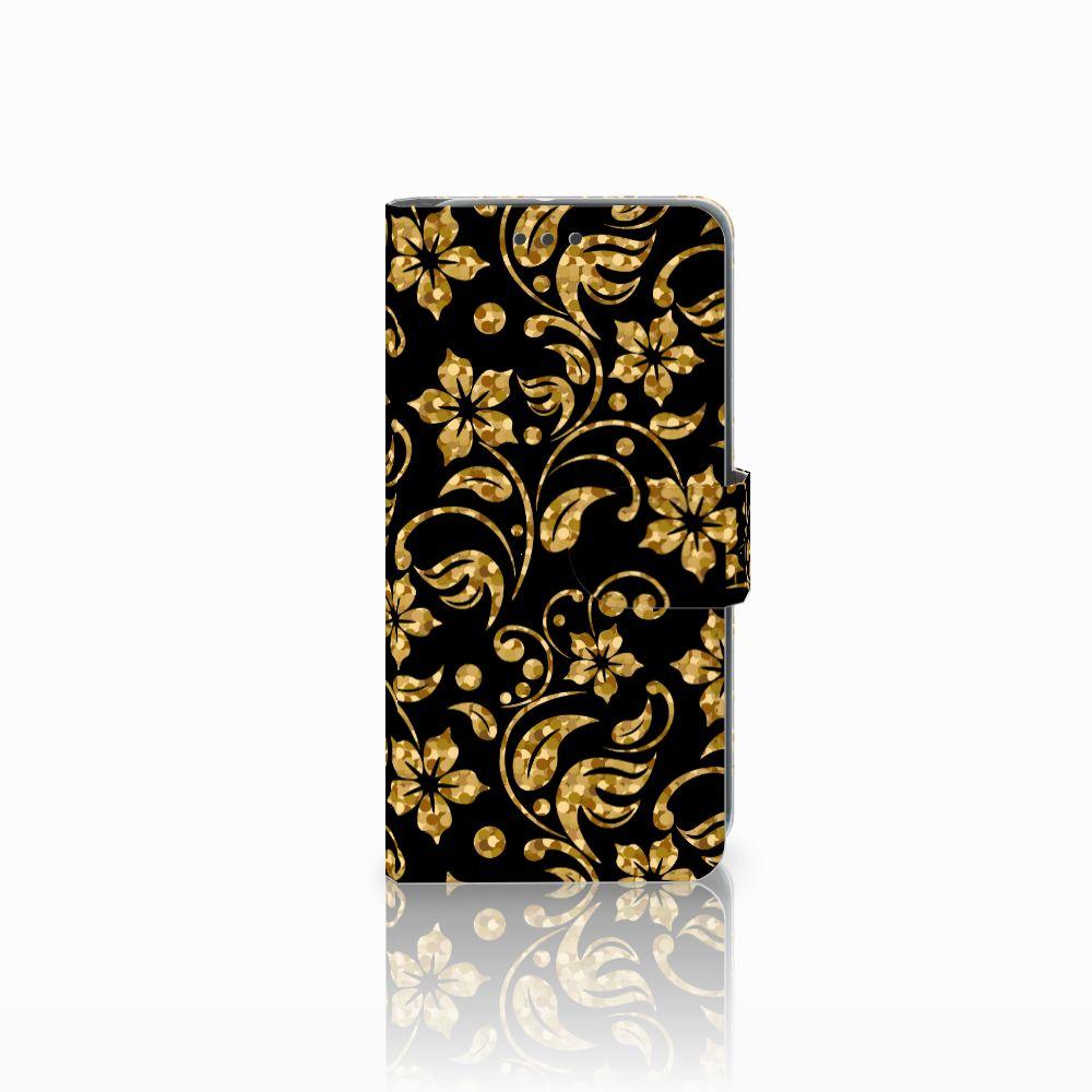 HTC U11 Life Boekhoesje Design Gouden Bloemen