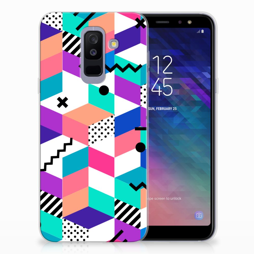 Samsung Galaxy A6 Plus (2018) TPU Hoesje Design Blocks Colorful