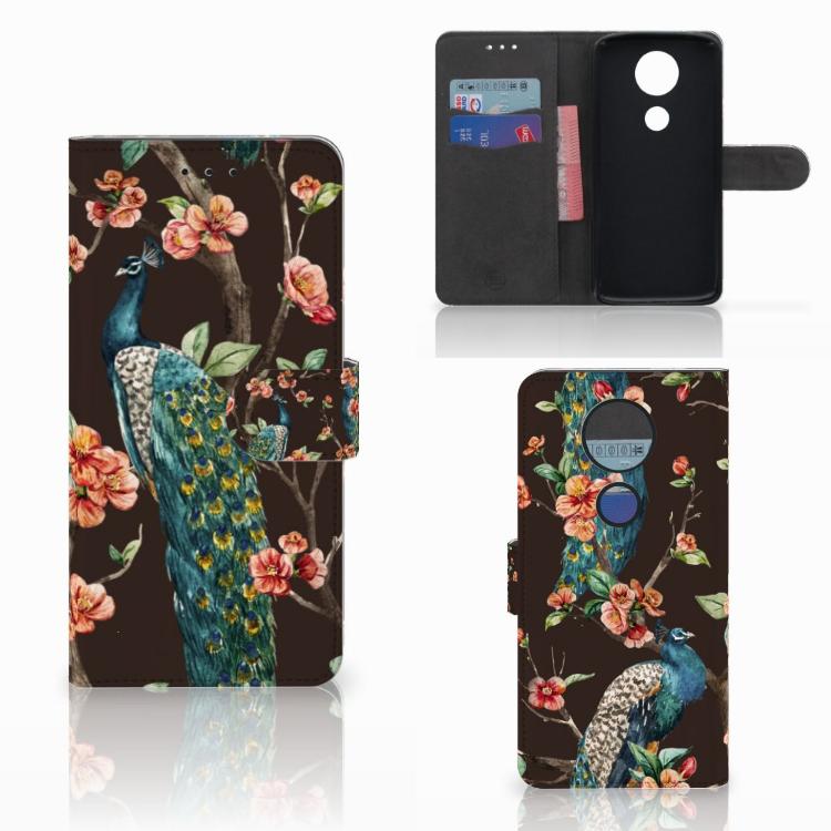 Motorola Moto E5 Plus Telefoonhoesje met Pasjes Pauw met Bloemen