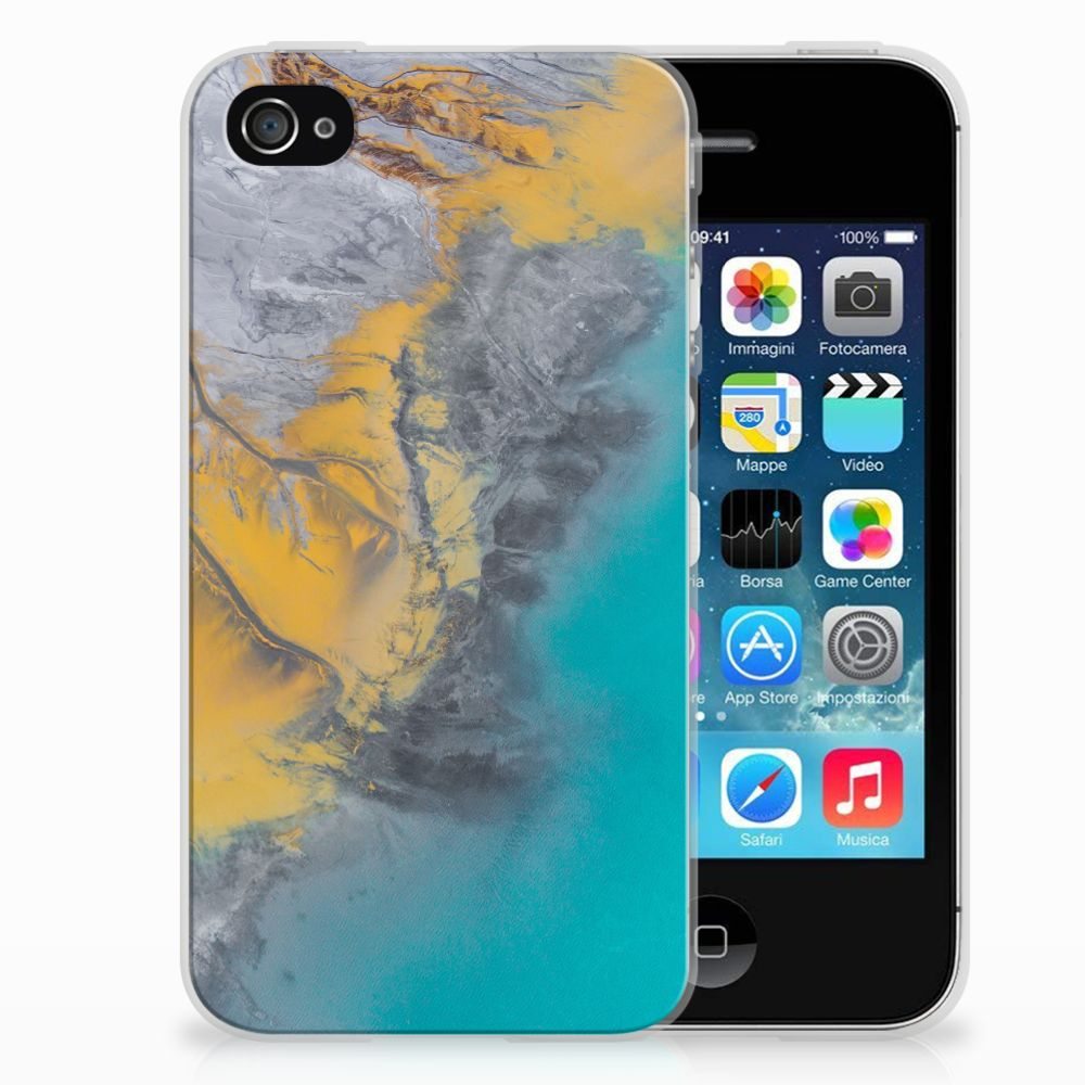 Apple iPhone 4   4s TPU Siliconen Hoesje Marble Blue Gold