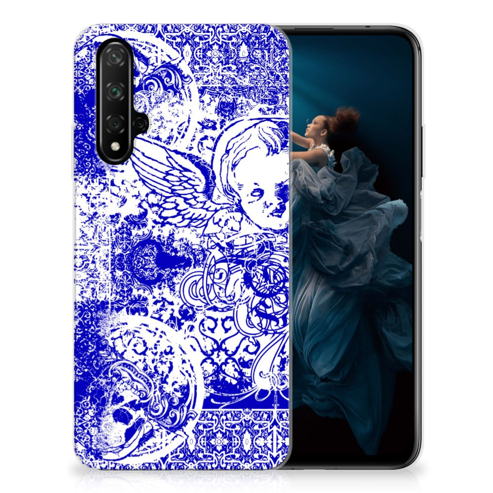 Silicone Back Case Honor 20 Angel Skull Blauw