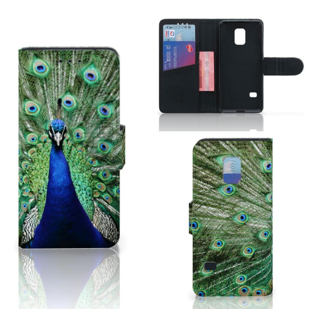 Samsung Galaxy S5 Mini Telefoonhoesje met Pasjes Pauw
