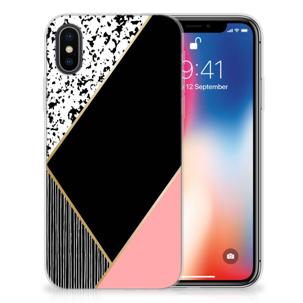 Apple iPhone X | Xs TPU Hoesje Zwart Roze Vormen
