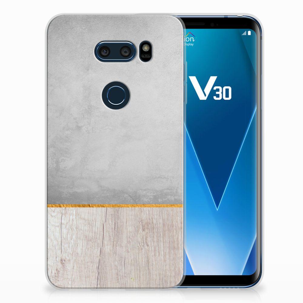 LG V30 Uniek TPU Hoesje Wood Concrete