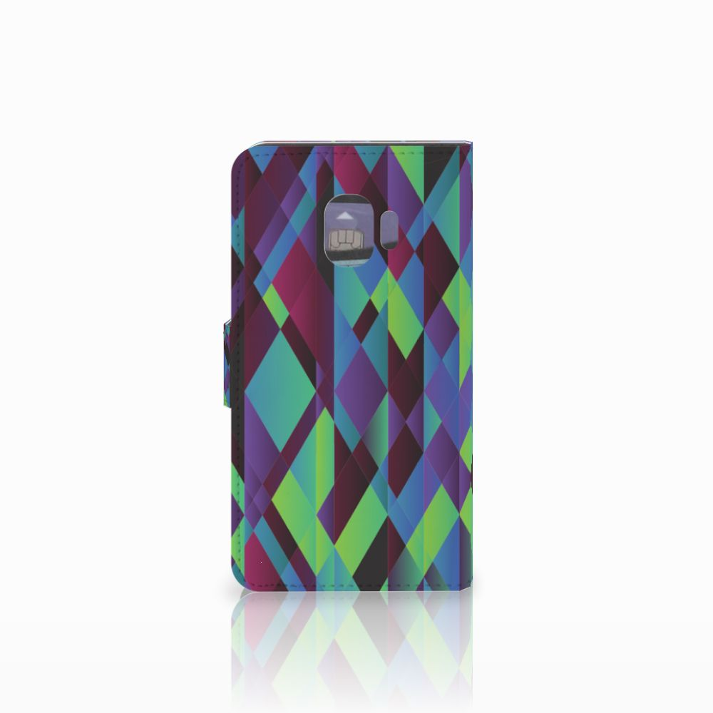 Samsung Galaxy J2 Pro 2018 Bookcase Abstract Green Blue