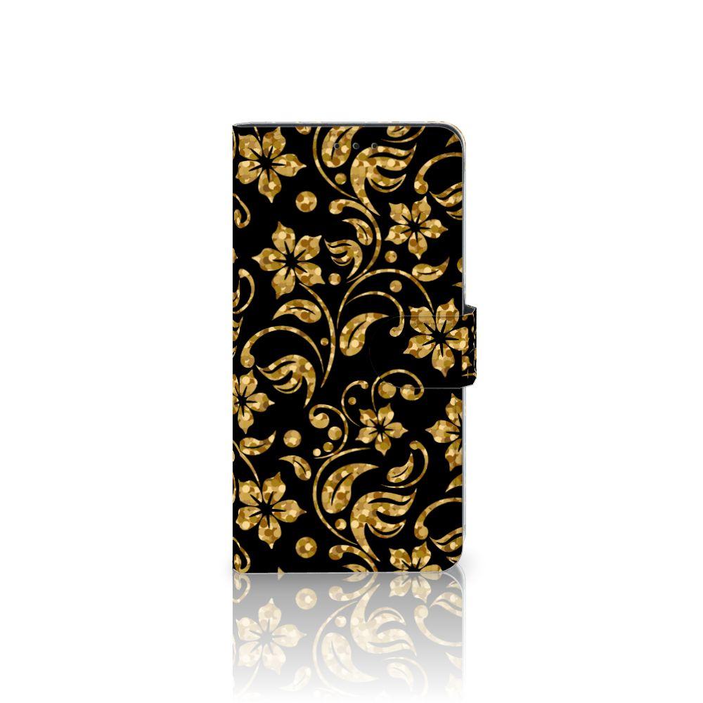 Samsung Galaxy A8 Plus (2018) Hoesje Gouden Bloemen
