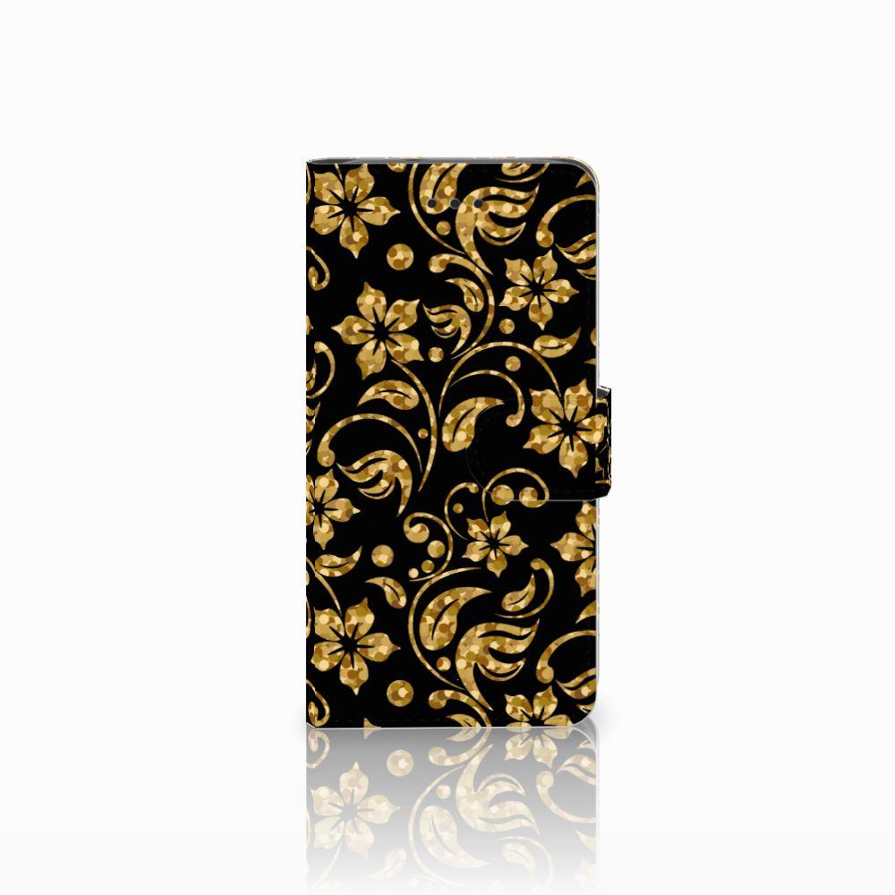 Huawei Y3 2017 Boekhoesje Design Gouden Bloemen