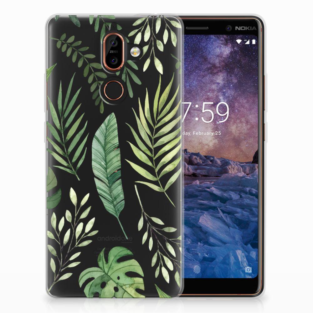 Nokia 7 Plus Uniek TPU Hoesje Leaves