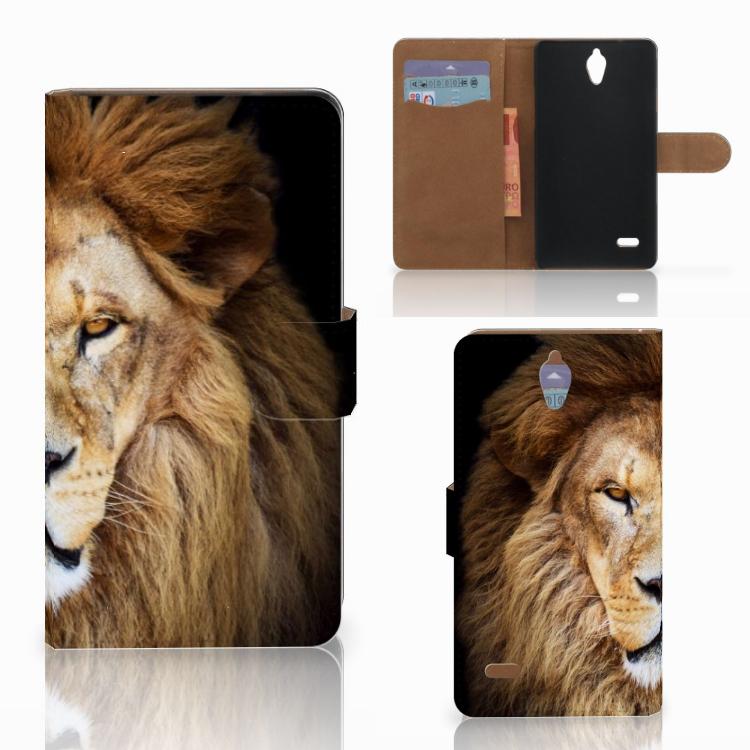 Huawei Ascend G700 Telefoonhoesje met Pasjes Leeuw