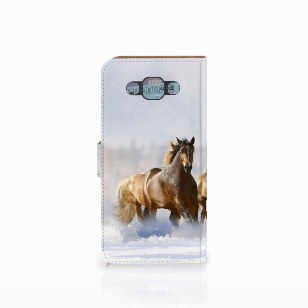 Samsung Galaxy E7 Telefoonhoesje met Pasjes Paarden