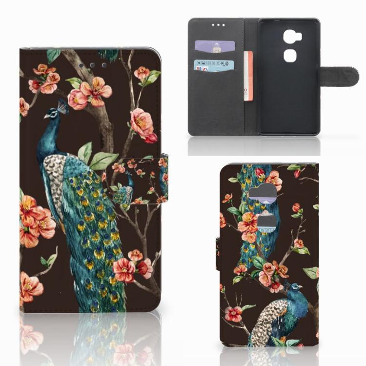 Huawei Honor 5X Telefoonhoesje met Pasjes Pauw met Bloemen