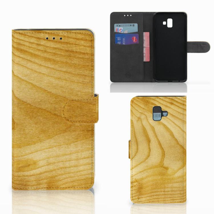 Samsung Galaxy J6 Plus (2018) Book Style Case Licht Hout