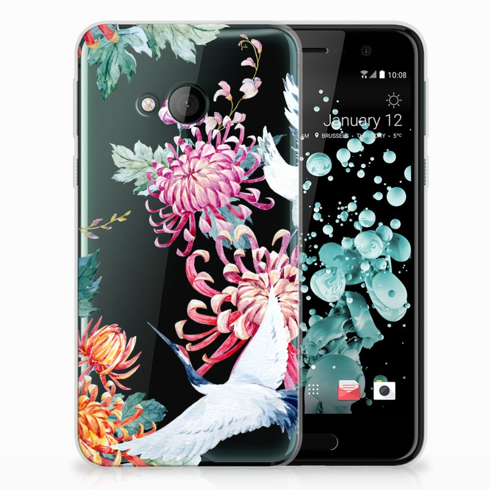 HTC U Play TPU Hoesje Bird Flowers