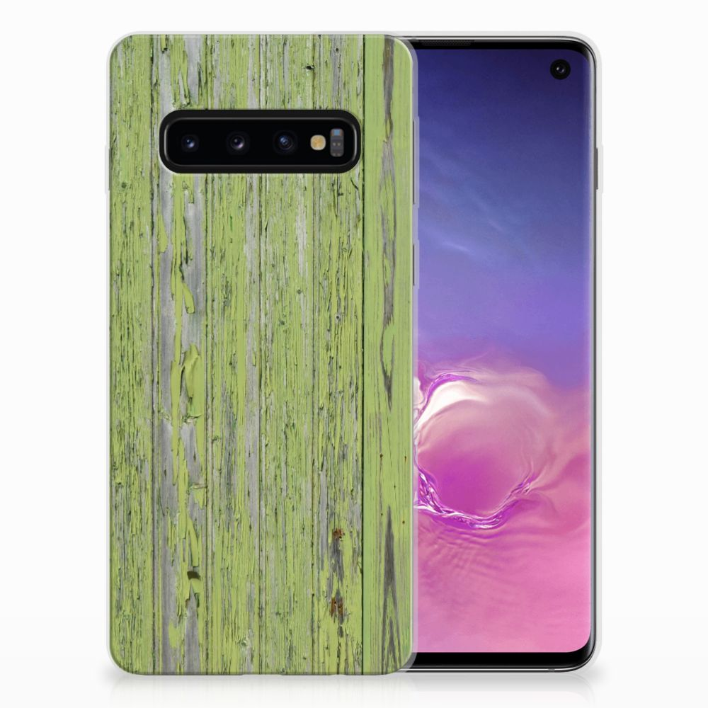 Samsung Galaxy S10 Bumper Hoesje Green Wood