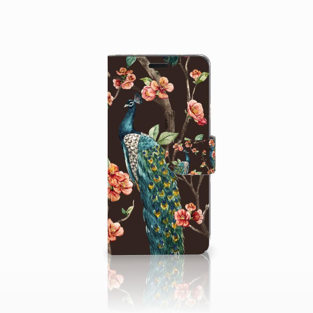 HTC Desire 530 Boekhoesje Design Pauw met Bloemen