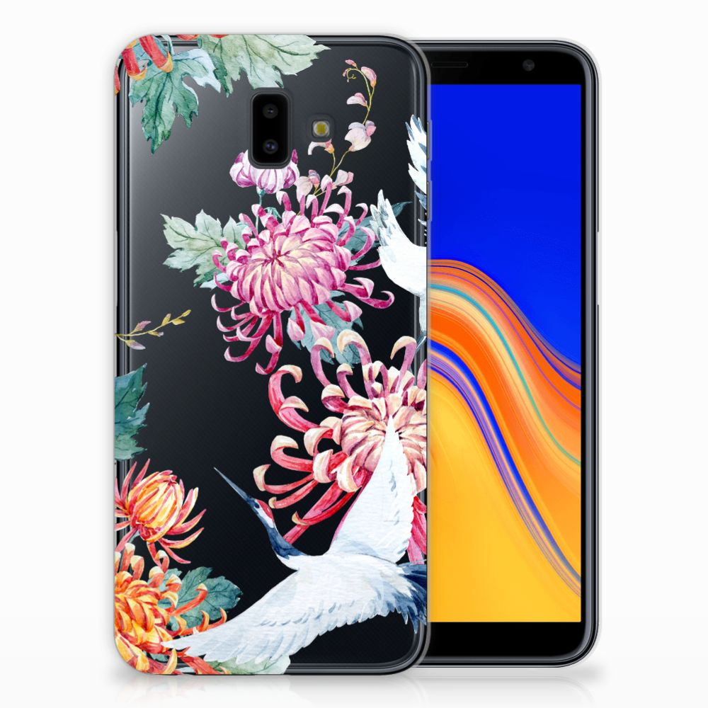 Samsung Galaxy J6 Plus (2018) Uniek TPU Hoesje Bird Flowers