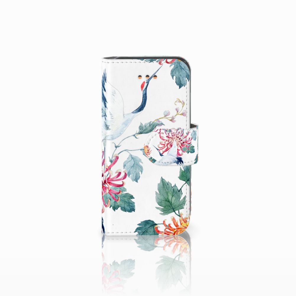 Apple iPhone 5C Uniek Boekhoesje Bird Flowers