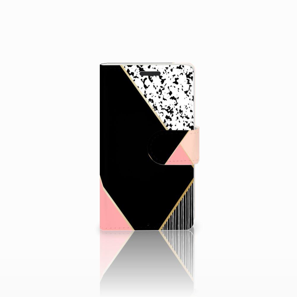 Microsoft Lumia 435 Uniek Boekhoesje Black Pink Shapes