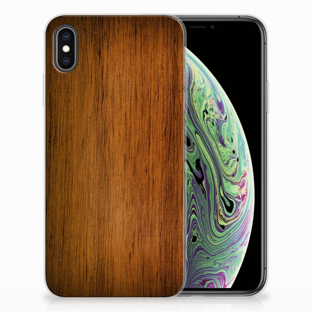 Apple iPhone Xs Max Bumper Hoesje Donker Hout