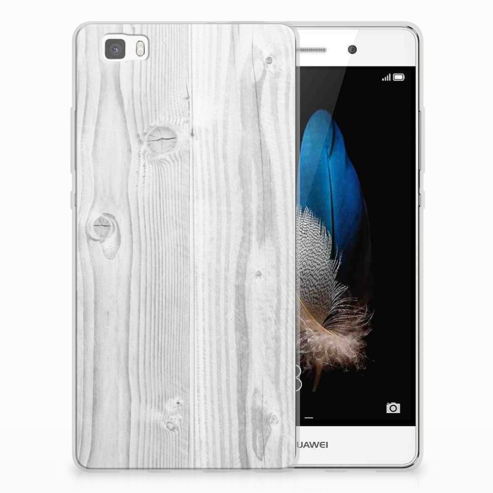 Huawei Ascend P8 Lite TPU Hoesje Design White Wood